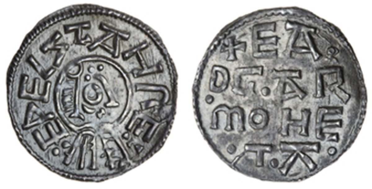 """""""Portrait type"""" penny of Aethelstan I (S-0949) that took $53,760 in EF. (Images courtesy and © Spink, London)"""