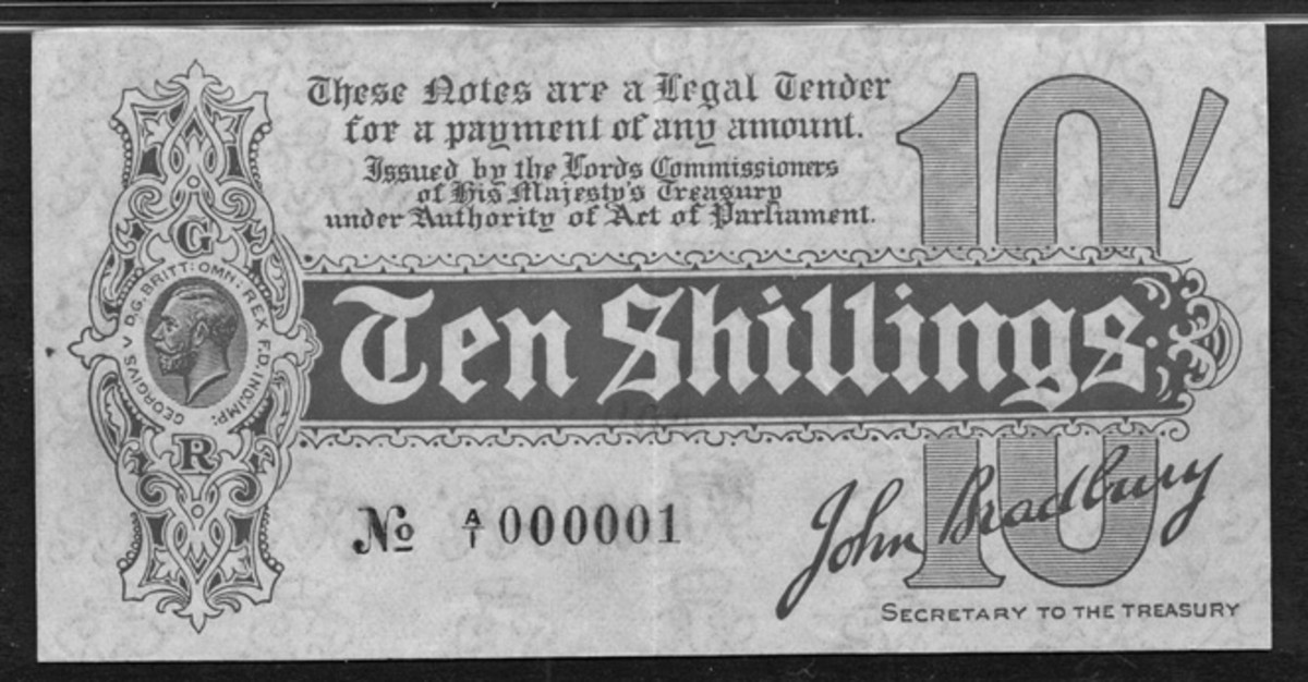 Britain's first ever 10 shillings note: 1914 GB Bradbury Treasury 10 shillings with serial A/1 000001 (P-346). In choice PMG-53 About Uncirculated the estimate is £15,000-20,000.  (Image courtesy and © Spink, UK.)