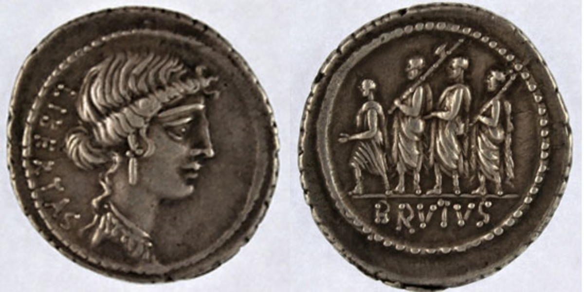 Silver denarius of Marcus Junius Brutus (Crawford 433/1; Sydenham 906) that realized $3,136, or 40 times upper estimate, in EF at Spink's e-Sale of the Michael Kelly Collection. (Images courtesy and © Spink)