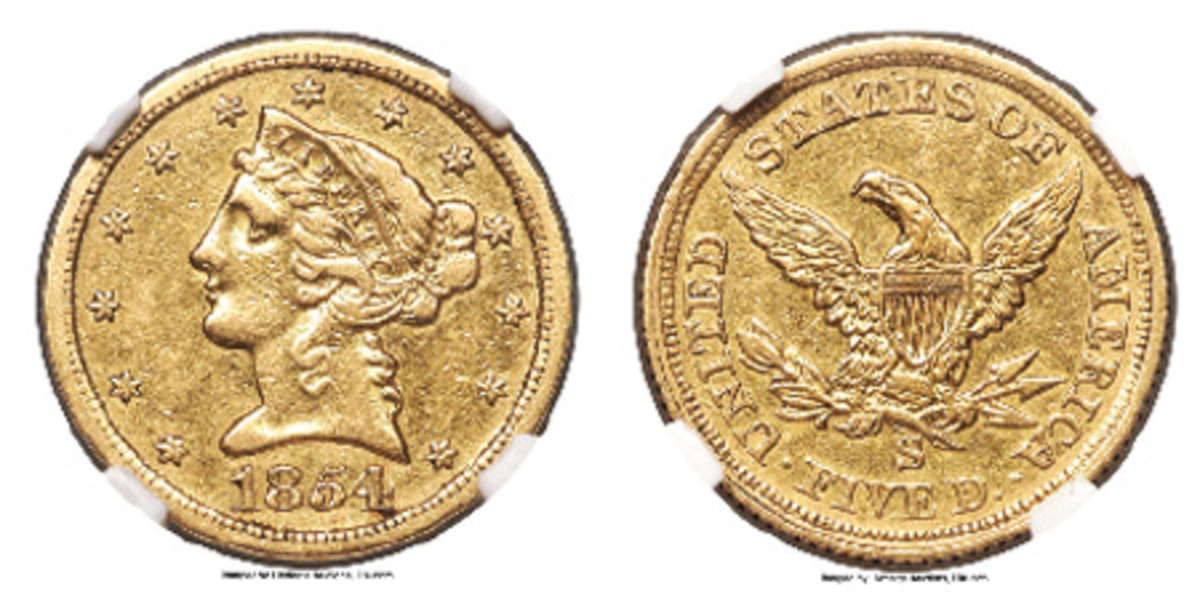 Only the fourth known 1854-S $5 gold piece was auctioned by Heritage at the American Numismatic Association convention.