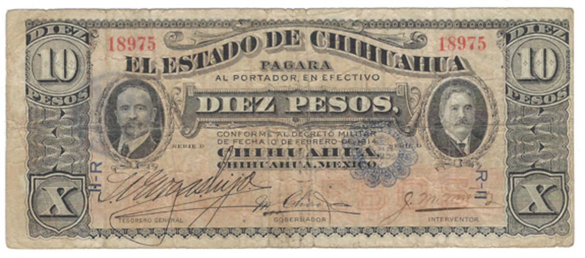 A separate variety of the 10 pesos with handwritten signature shows the addition of a blue seal at right on the face.