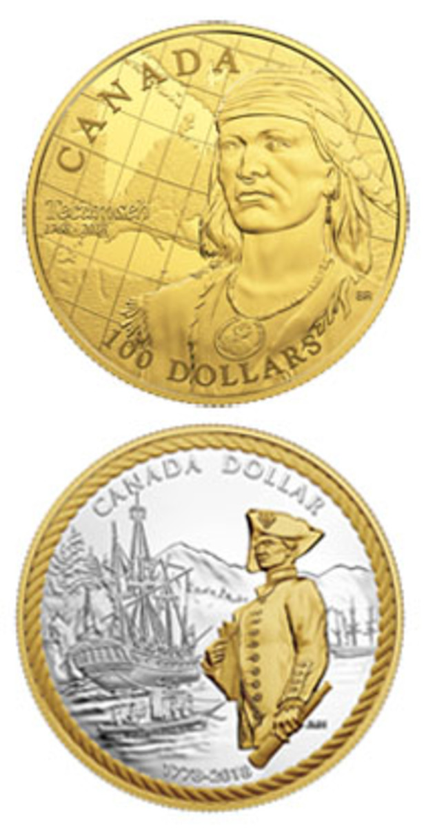 Top: Reverse of gold $100 celebrating the 250th anniversary of the birth of Shawnee warrior Tecumseh. Bottom: selectively gold-plated reverse of the silver dollar proof that marks the 240th anniversary of the arrival of Captain Cook at Nootka Sound. (Images courtesy RCM)
