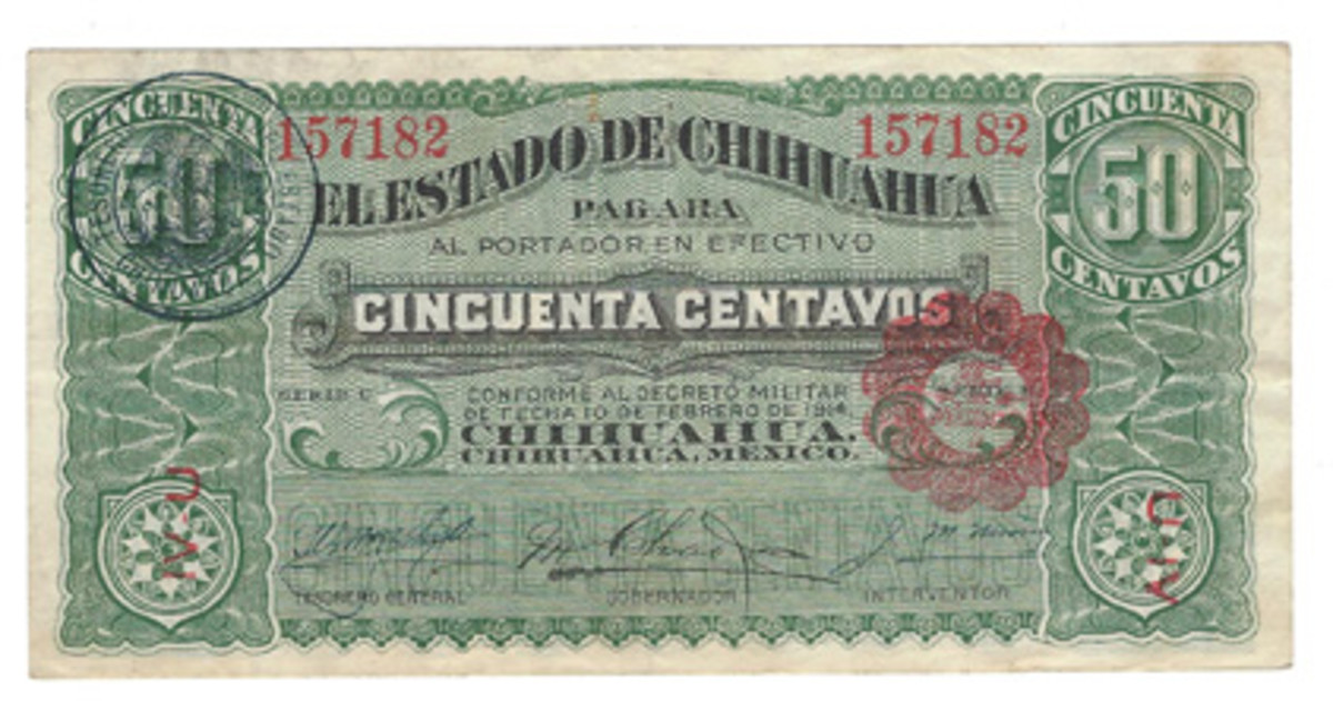 The 50 centavos of the Dos Caritas 1914 Chihuahua issue exhibits three varieties that I consider to be worthy of separation. This first one has two seals and a pair of red letters on its face; the back is as printed without any additional figures or symbols.