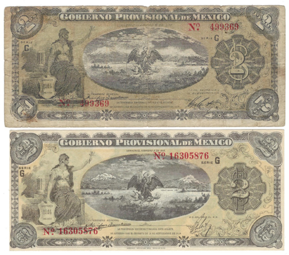 Here are two different printings of the Veracruz issue 2 pesos, both dated Feb. 5, 1915. With such major differences as these in the two printing plates, it's hard to think that they could be ignored by any serious collector. The respective imprints also differ.