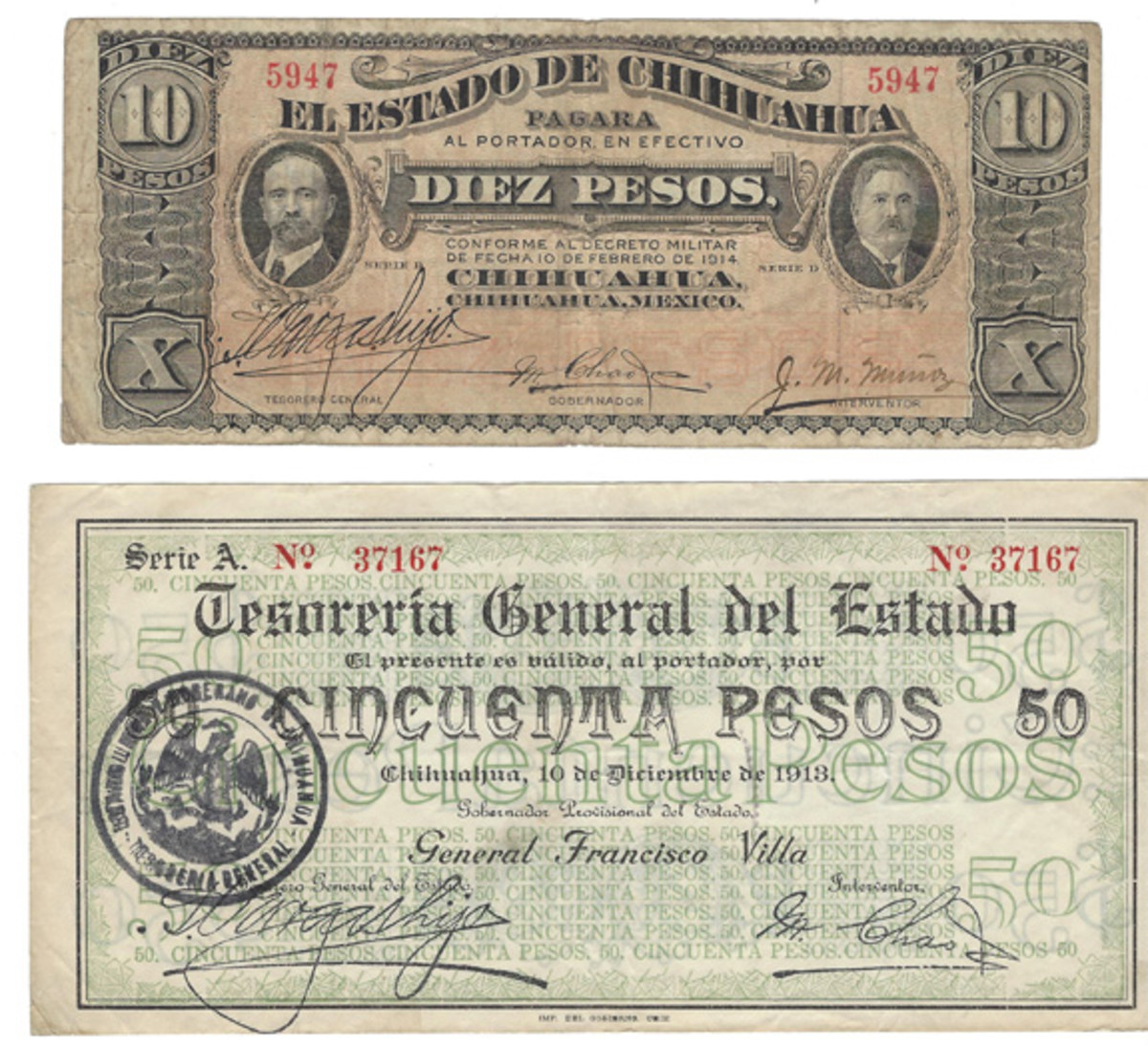 This pair of notes, each representing a distinctive Pancho Villa issue, demonstrate the almost exact similarity of the handwritten and printed signature of T. Vargas Hijo at left. It is printed on the 50-pesos note. The 10 pesos has no seal at all on its face.