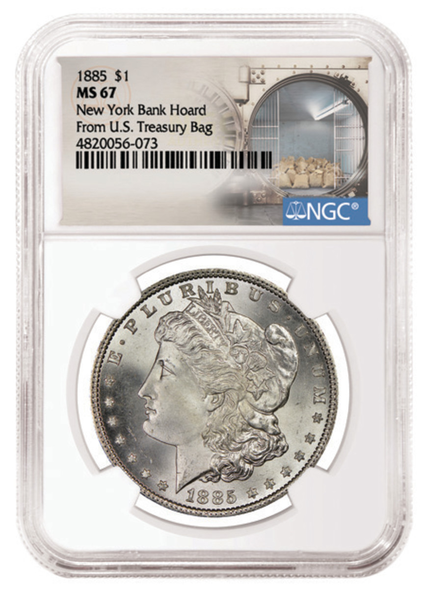 One of the newly slabbed silver dollars from the New York Bank Hoard is shown in its slab.