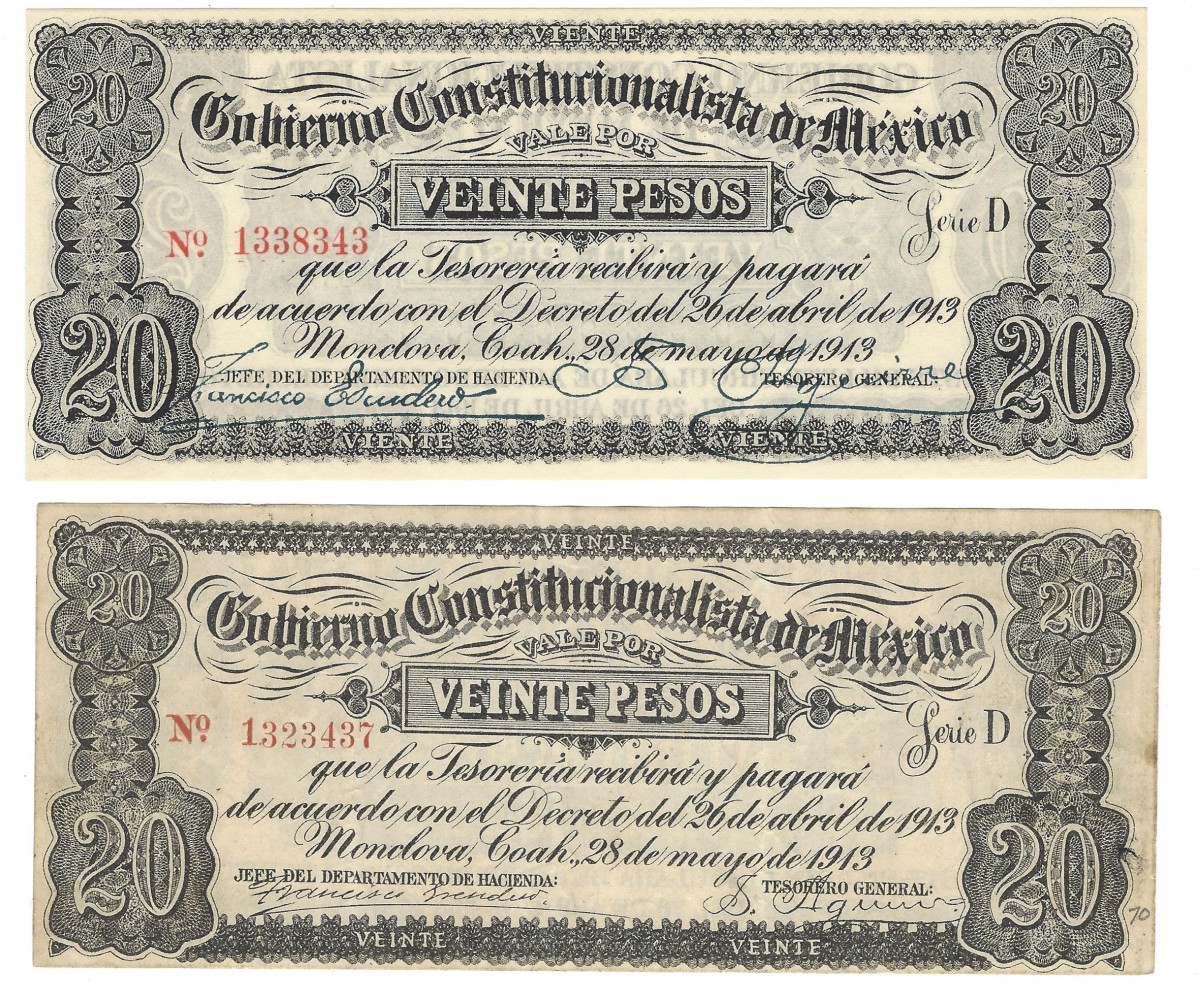 Another pair of 20 pesos notes, this time from the early Monclova issue of 1913, shows a most unusual variety. On the upper one, the word for 20 is misspelled in the lower margin as VIENTE instead of the corrected version VEINTE as seen on the lower piece. Strangely, the note with the corrected word is thought to be a counterfeit!