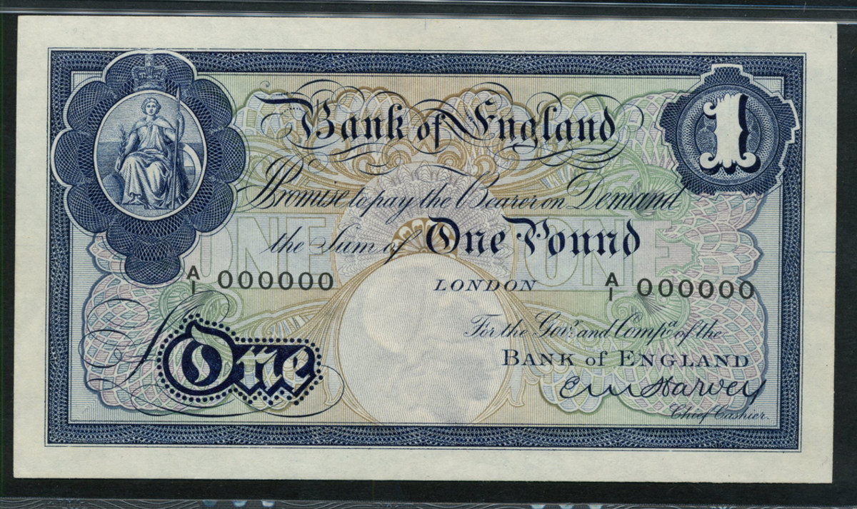 Rare BoE printers' archival trial for the proposed colored £1 issue c. 1924. Signed by E.M. Harvey this design was never used for the issued note in 1928. It is unlisted in any reference work on British banknotes and carries an estimate of £10,000-14,000. (Image courtesy and © Spink, UK.)
