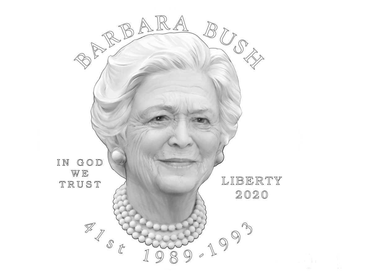The Citizens Coinage Advisory Committee's recommendation for the obverse design of the 2020 Barbara Bush gold coin and bronze medal.