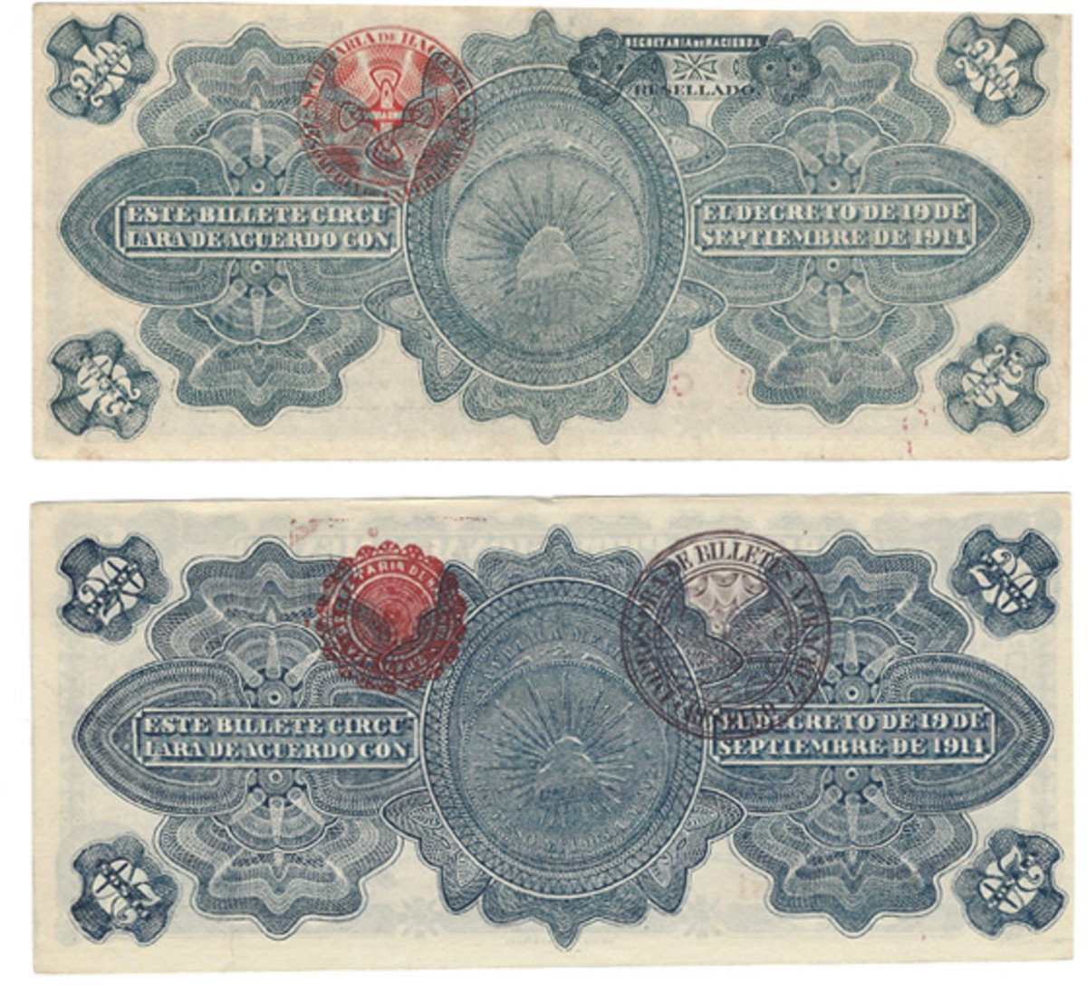 Here are two 20 pesos backs, both dated Dec. 1, 1914. Each has a distinctive pair of overprints on its back, but the faces are similar except for the imprints.