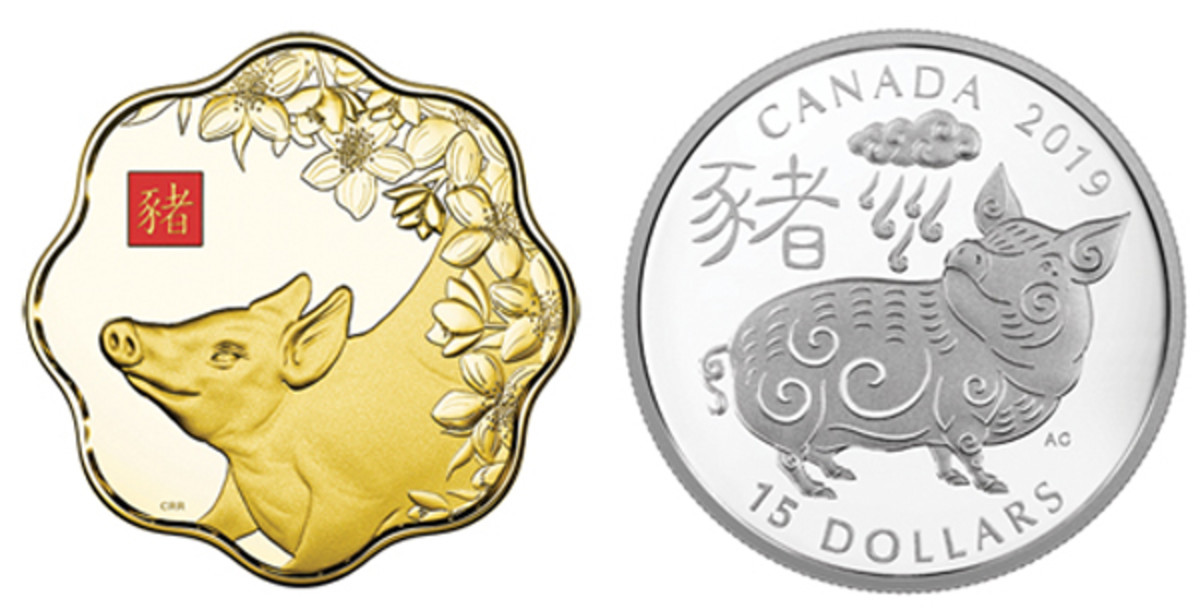 Two Canadian lunar pigs. At left is Three Degrees Creative Group's scalloped proof gold $2,500; at right, Aries Cheung's stylized Lunar Pig smiles beneath a rain cloud on a silver proof $15. (Images courtesy Royal Canadian Mint)