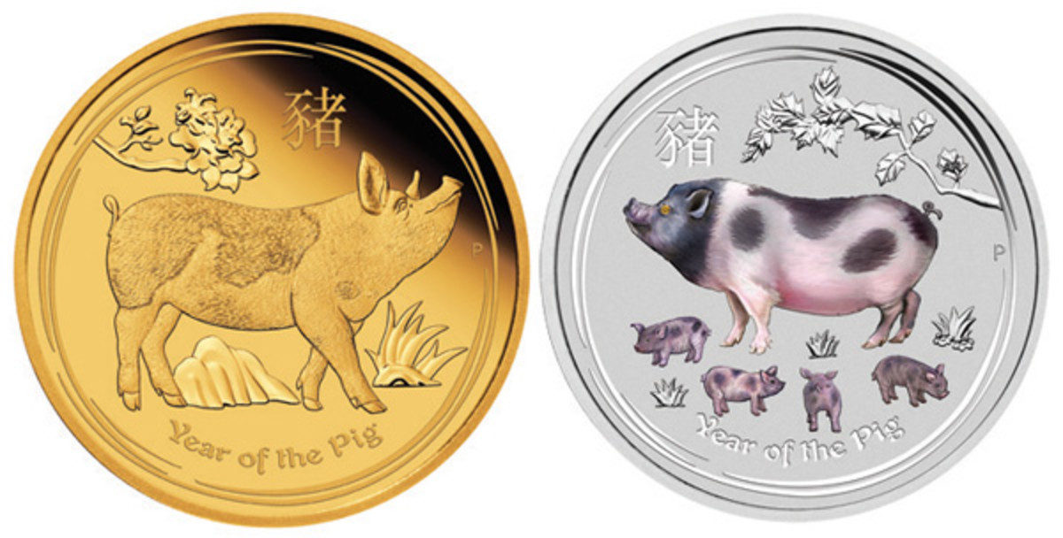 Common reverse designs of Perth Mint's YoP coins: gold (left) and silver (right). (Images courtesy Perth Mint)