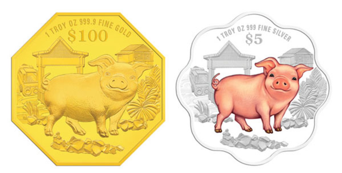 Common reverses from the third issues of Singapore Mint's fourth cycle of lunar coins: a selectively colored, scalloped silver $5 and an octagonal gold $100. (Images courtesy Singapore Mint)