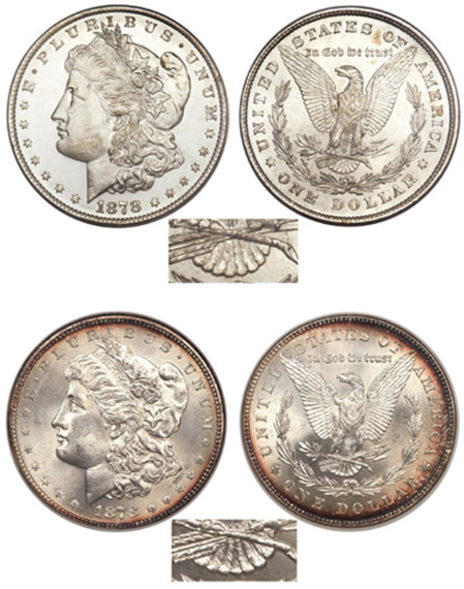The first Morgan dollars had eight tail feathers (top). That was almost immediately changed to seven (bottom). (Images courtesy Heritage)