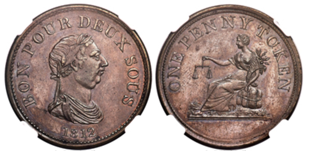 Top-selling Canadian token from the Doug Robins Collection: Lower Canada BON POUR DEUX SOUS pattern penny of 1812, which fetched $50,400 in Proof-65 Brown NGC. (Image courtesy and © www.ha.com)