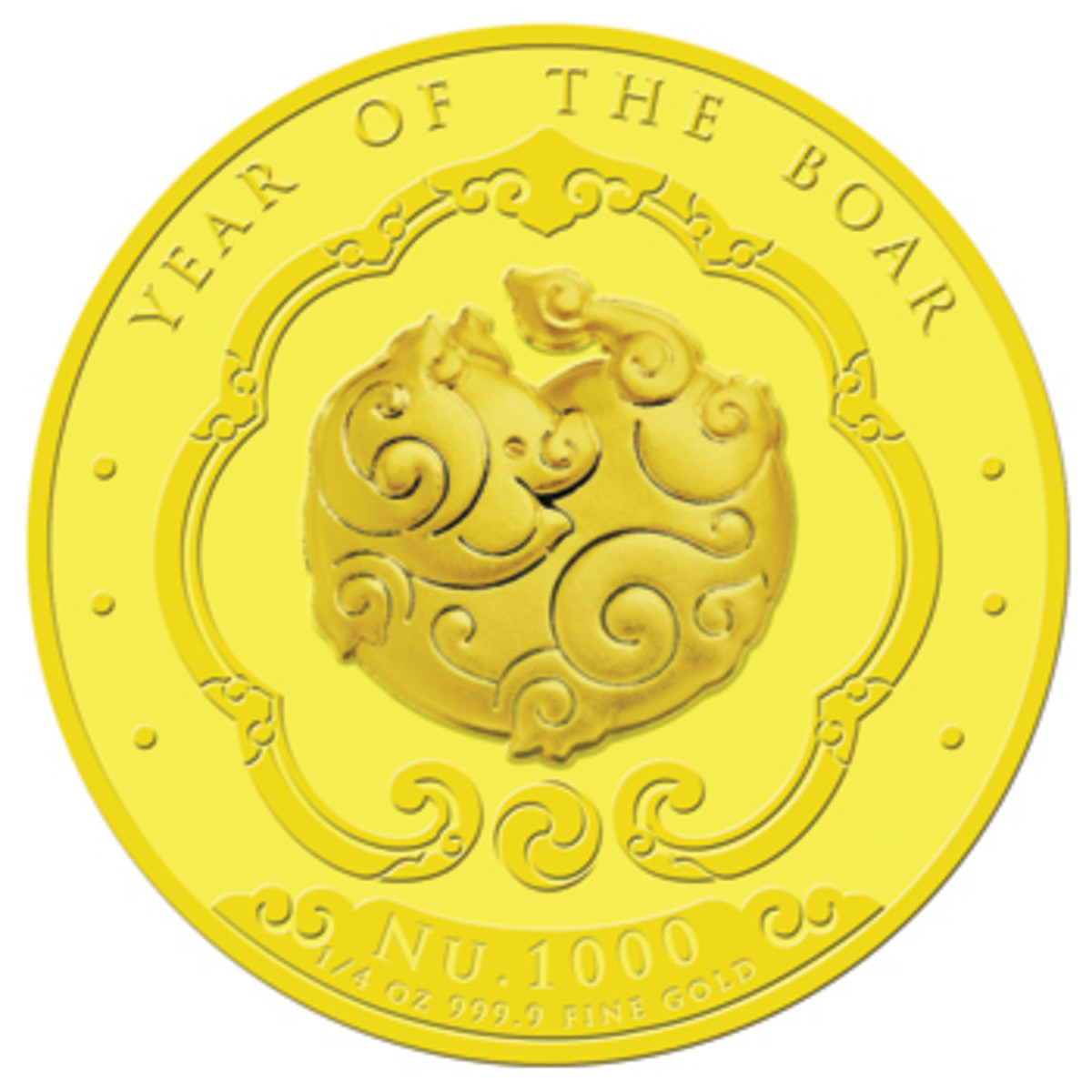 "Reverse of Bhutan's fourth lunar gold 1,000 ngultrum. The nose of this stylized boar is shaped like an auspicious ""Ruyi."" (Image courtesy Singapore Mint)"