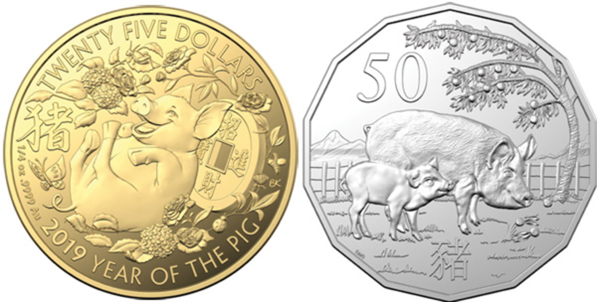 Left: common reverse of this year's RAM's YoP proof issues as shown by the auspicious gold $25. Right: Stevan Stojanovic's eighth lunar BU tetradecagonal 50 cents. (Images courtesy RAM)