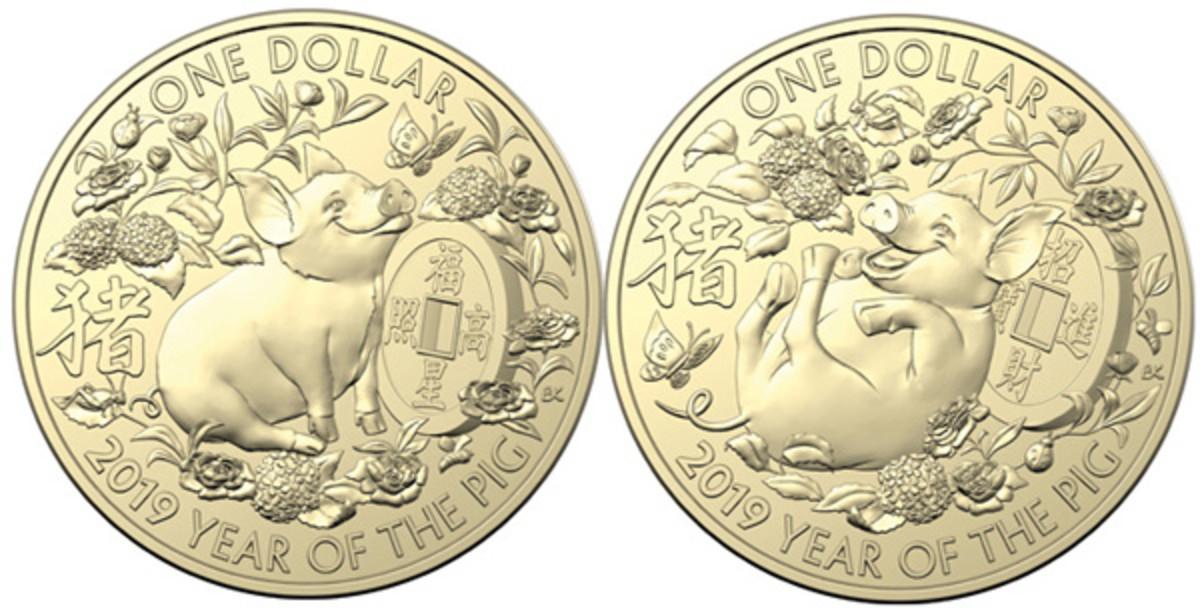 Reverses of RAM's BU YoP aluminum-bronze dollars representing Fu (Happiness), Lu (Wealth), and Shou (Longevity). (Images courtesy RAM)