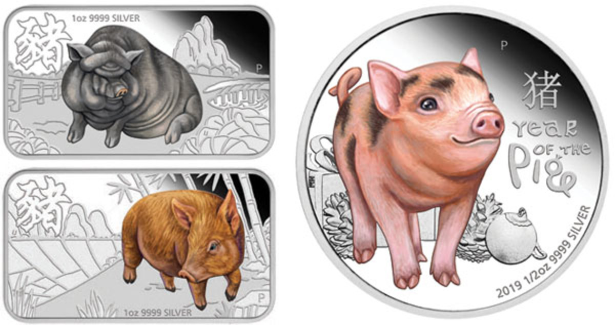 A curious piglet checks out the festive season alongside a Vietnamese Pot-bellied and a Tamworth on three of Tuvalu's YoP selectively colored silver issues. (Images courtesy Perth Mint)