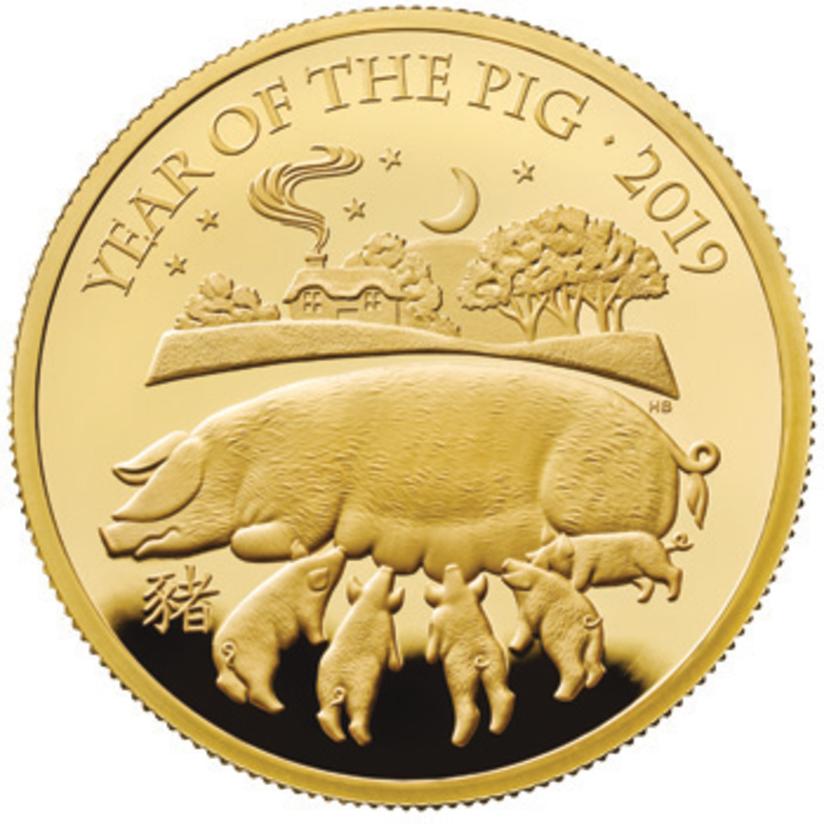 Common reverse of Great Britain's sixth lunar coin. Designer Harry Brockway shows a mother sow suckling her litter Illustrated on a proof gold £100. (Image courtesy & © 2018 The Royal Mint)