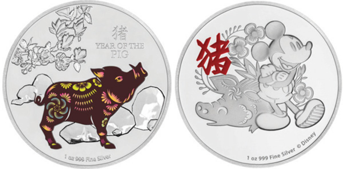 A brown boar sports colored floral motifs on one silver lunar Niuean $2. On a second, Mickey Mouse accompanies a floral pig on this second Disney-licensed lunar coin from New Zealand Mint. (Images courtesy Power Coin)