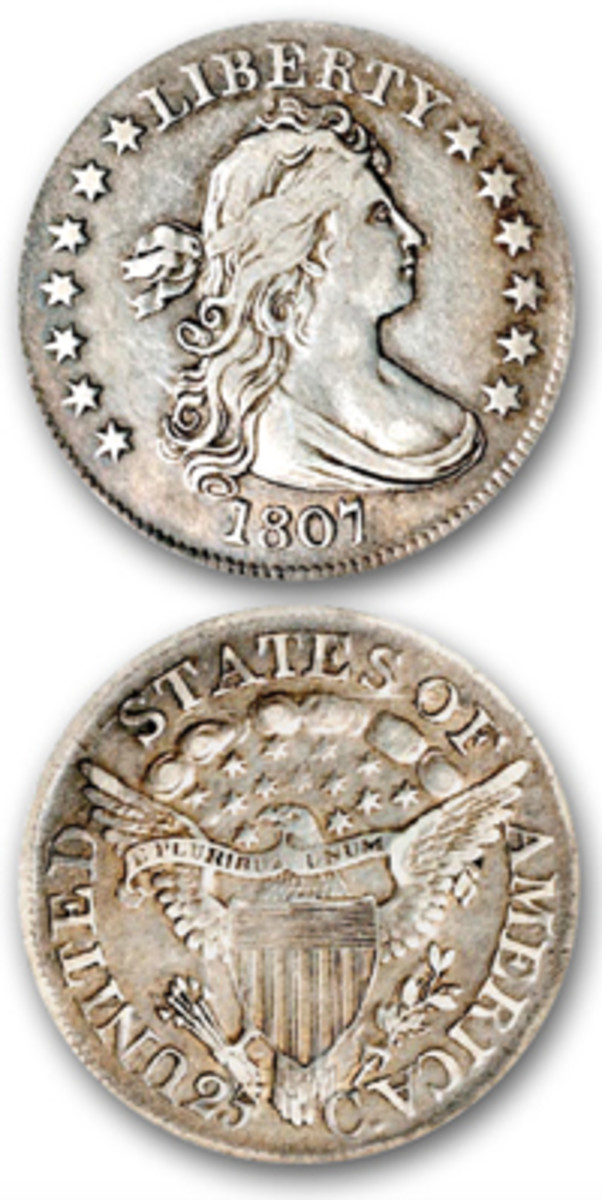 The last Draped Bust quarter dollars were struck in 1807. (Images courtesy Stack's Bowers)