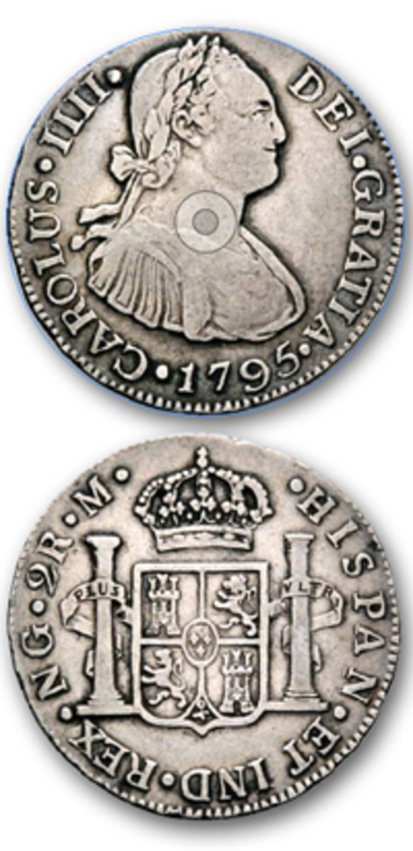 The United States quarter dollar was based on the Spanish coin of 2 reales.