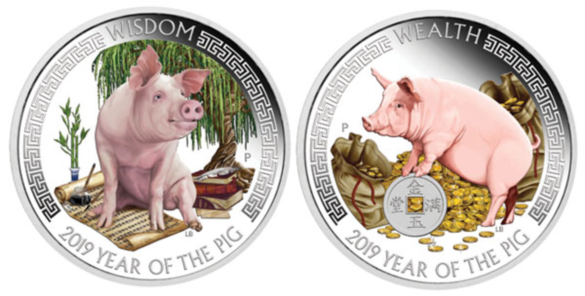 Pigs on the reverses of Tuvalu's Wealth & Wisdom lunar dollars explore gold coins and symbols of learning. (Images courtesy Perth Mint)