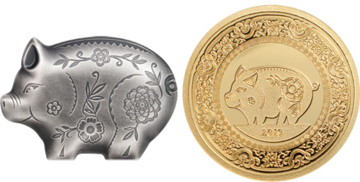 "Mongolia's silver 1,000 togrog ""Jolly Silver Pig"" and conventional 1,000 togrog YoP gold round. (Images courtesy Coin Invest Trust)"