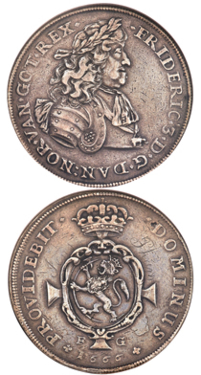 The extraordinarily rare Norwegian 3 speciedaler of Frederik III dated 1666-FG, KM-79, that realized $432,000 – the highest price ever paid at auction for a Scandinavian silver coin. (Image courtesy and © www.ha.com)
