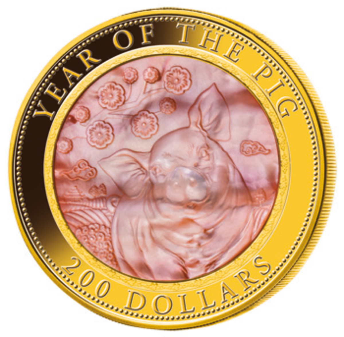 Reverse of the ninth massive 5 oz lunar gold proof $200 struck by MdM showing the Earth Pig engraved in a mother-of-pearl insert. (Image courtesy MDM Münzhandelsgesellschaft mbH)
