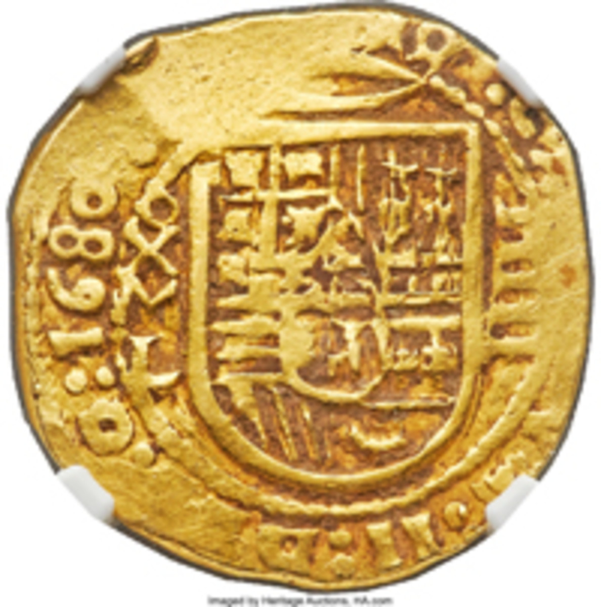 Earliest known 4 escudos of Mexico: Charles II gold cob of 1680, MXo-L, KM-54. In VF-30 NGC, it sold for $84,000. (Image courtesy and © www.ha.com.)