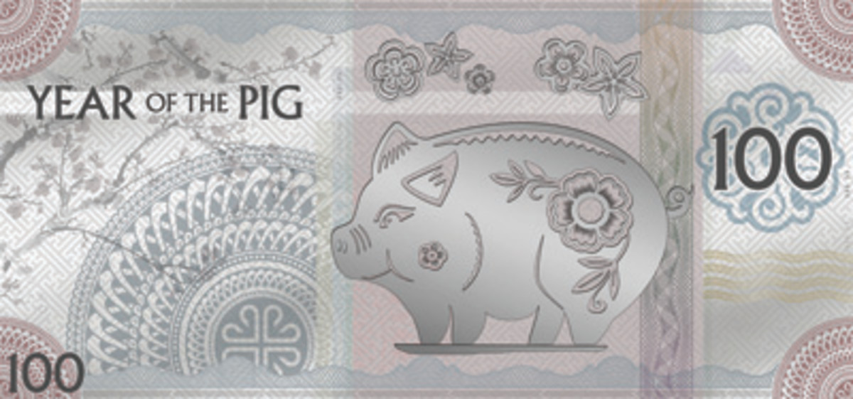 "A flower-bedecked ""Jolly Silver Pig"" features on Mongolbank's silver foil 100 togrog. (Images courtesy Coin Invest Trust)"