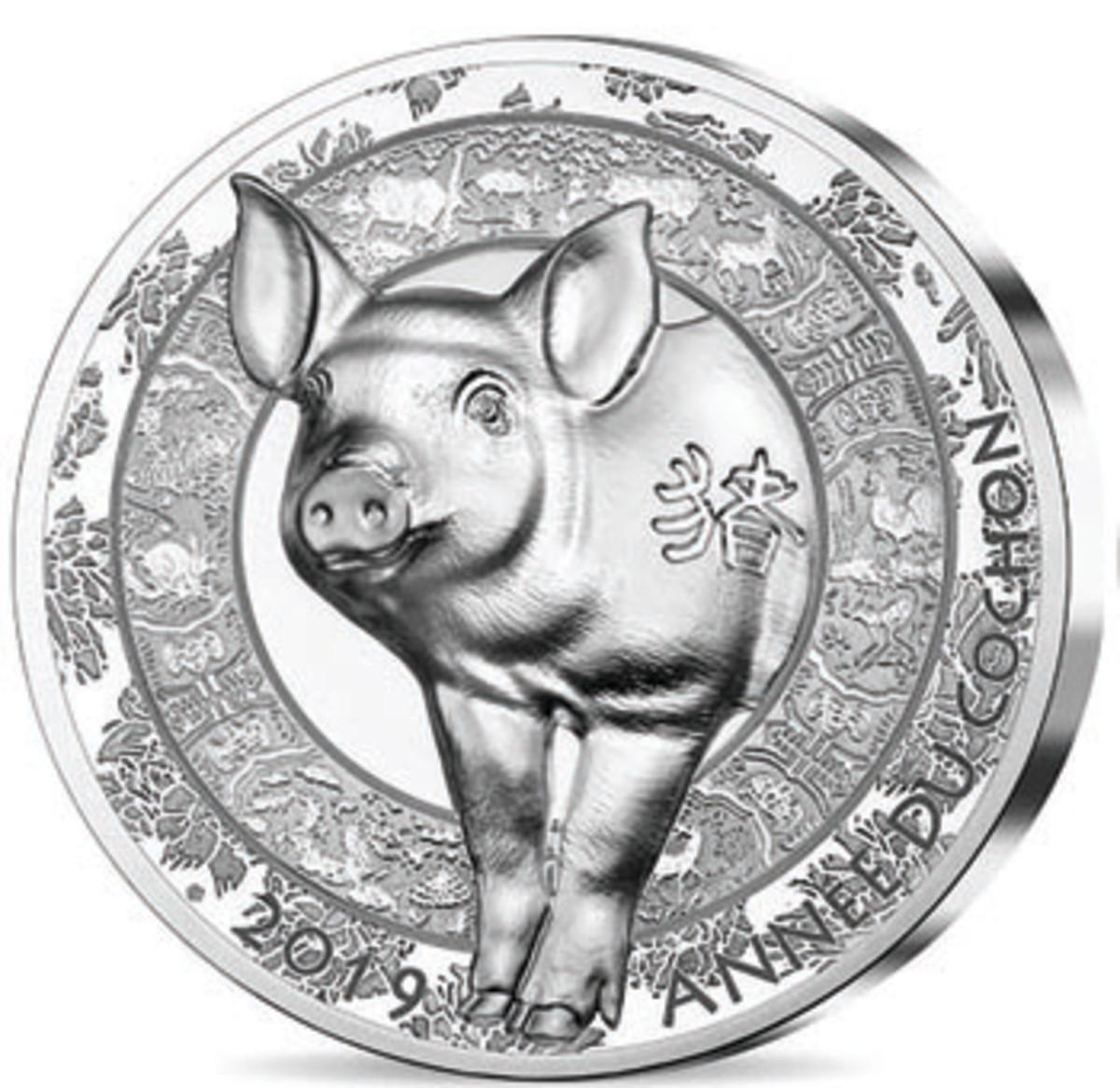 Monnaie de Paris marks Année du Cochon with an enthusiastic pig leaping headlong from the reverse of an ultra-high relief silver s 20 euro. (Image courtesy Monnaie de Paris)