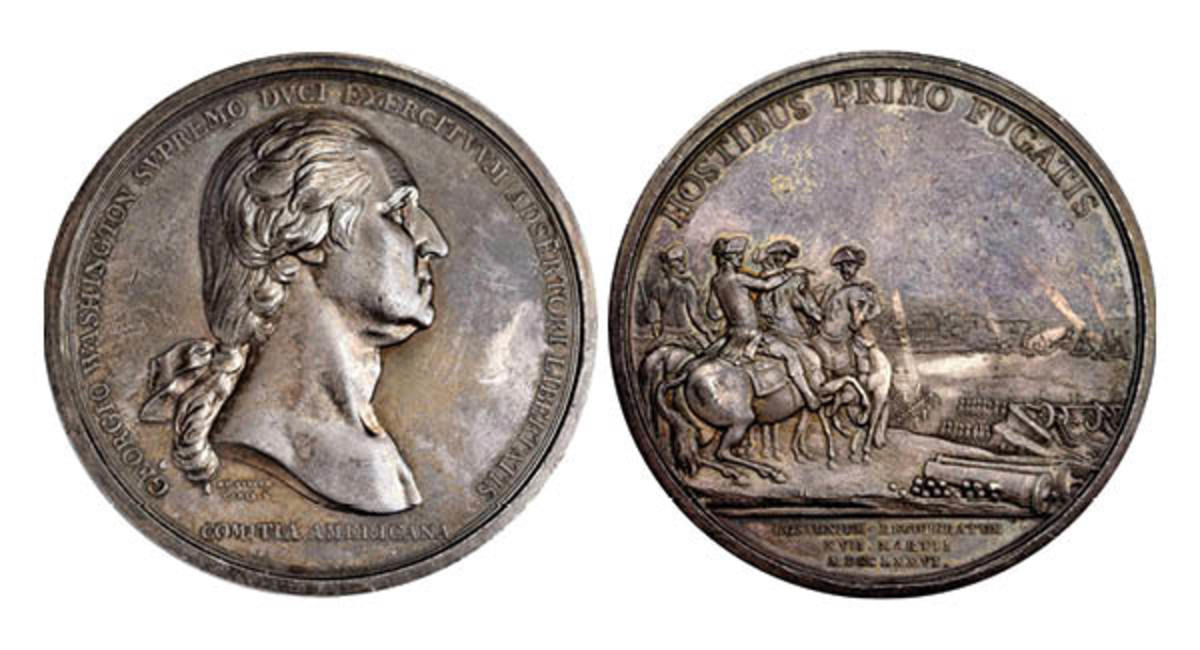 """1776"" (ca. 1789) Washington Before Boston Medal. First Paris Mint Issue. Silver. 68.5 mm. 2761.8 grains. Musante GW-09-P1, Baker-47, Betts-542, Julian MI-1, Adams-Bentley 3. Specimen-61 (PCGS). (Image courtesy of Stack's Bowers)."