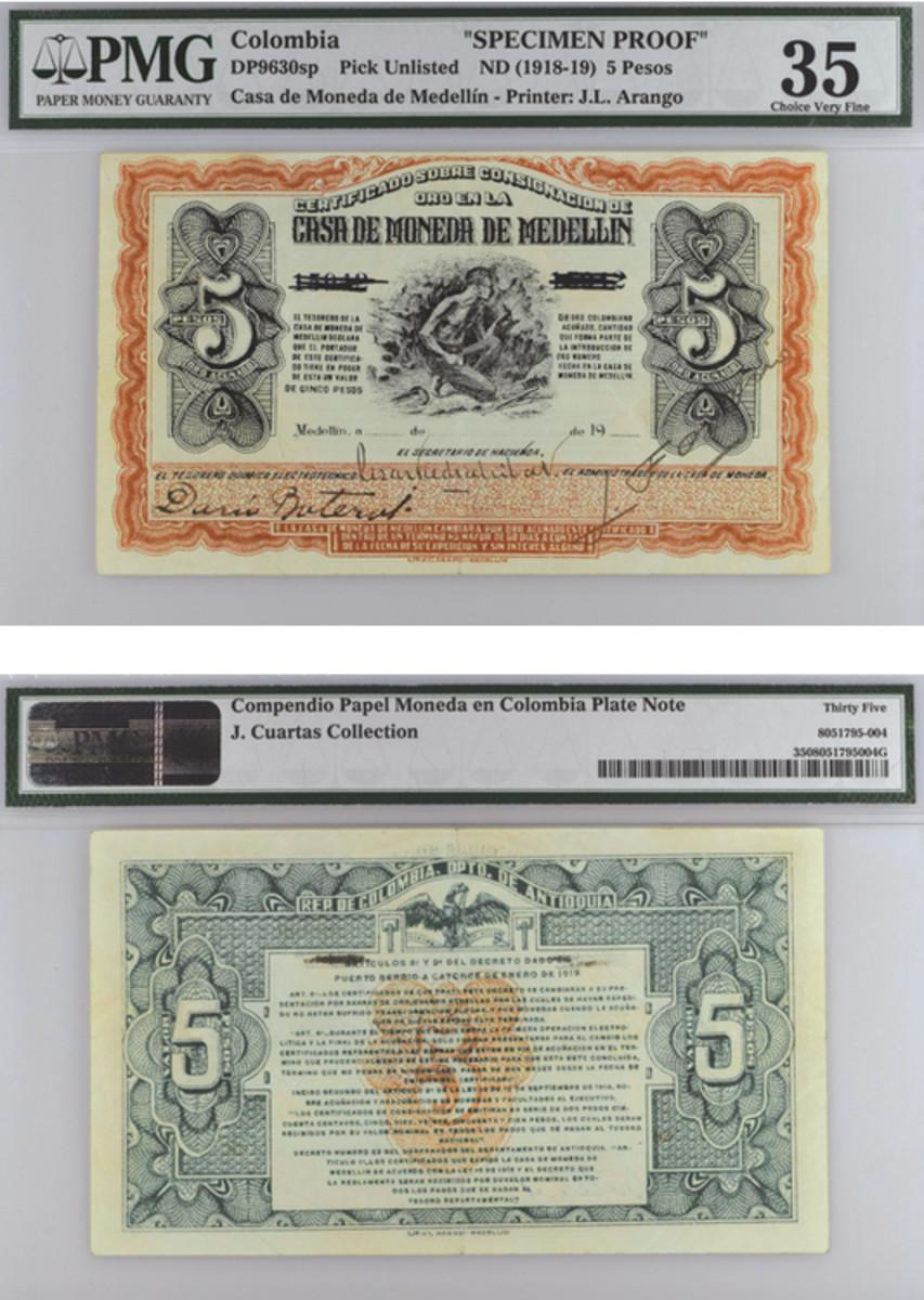 5 pesos Gold Certificate of Deposit, Casa de Moneda de Medellin, Colombia. Printed by Litografia J.L. Arango, ca. 1918-19. (From the collection of Julian Cuartas)