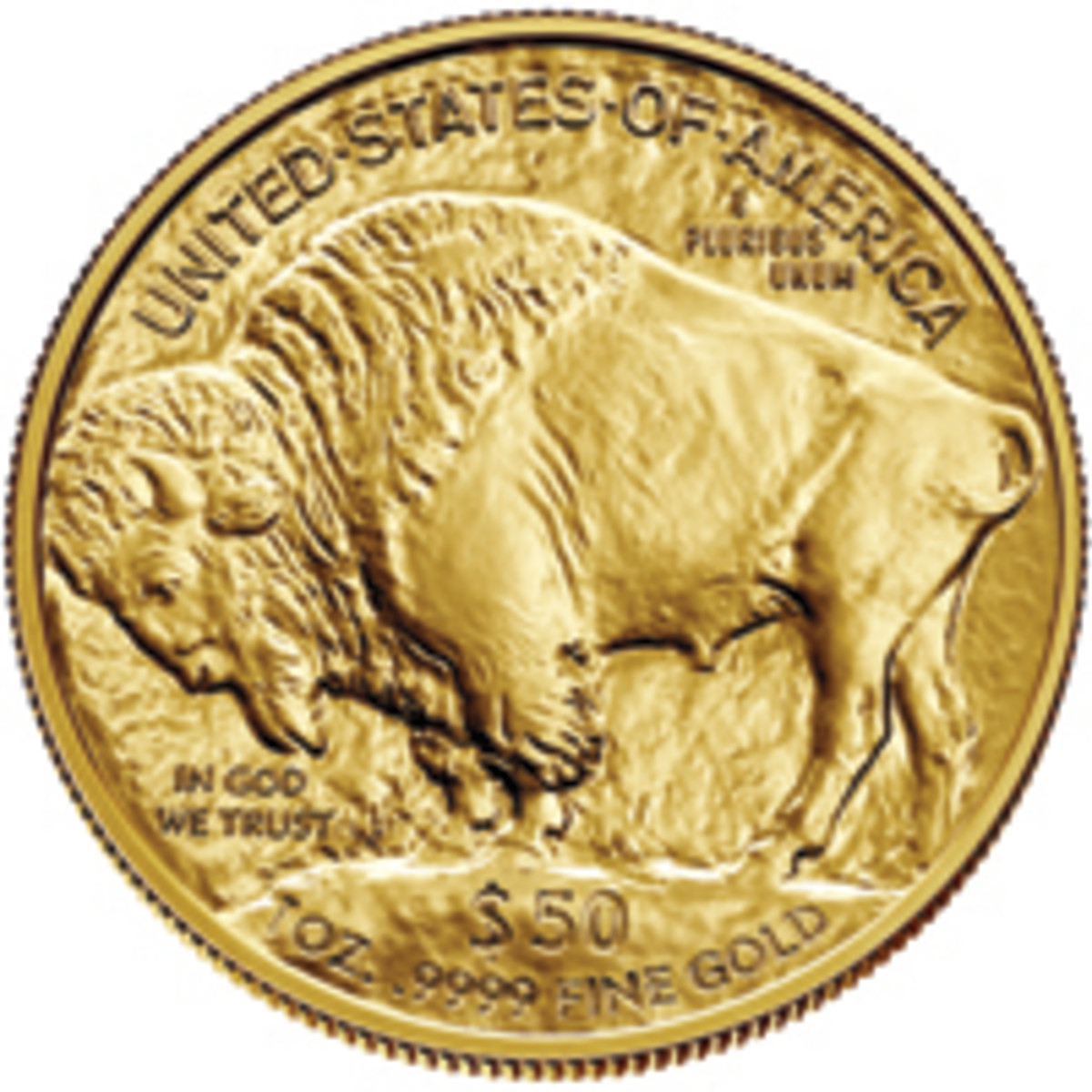 """Many argue that purchasing bullion coins, like this $50 gold Buffalo, is no different than """"purchasing"""" two ten dollar bills with a twenty dollar bill at the bank. (Image courtesy of The United States Mint)"""