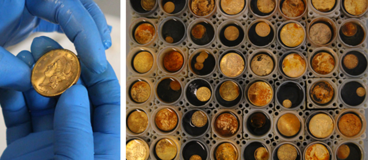 Above, Bob Evans holds a double eagle. Below, storage tubes. (Christina Good/Professional Coin Grading Service photos)