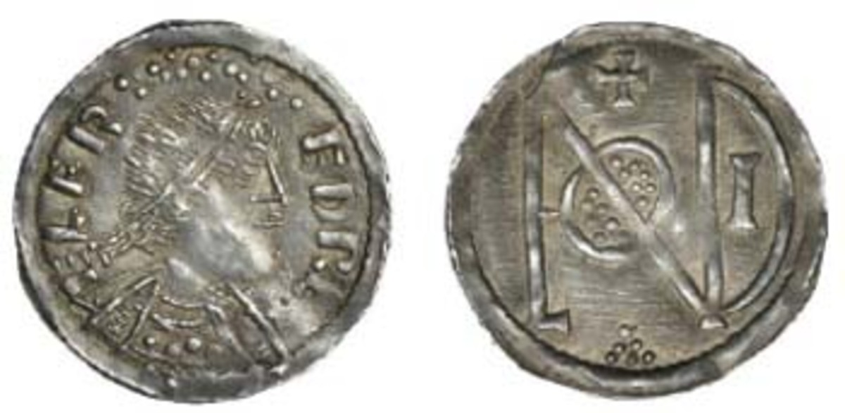 The rare and desirable London monogram silver penny of Alfred the Great (S-1061) that sold for $28,434 graded aEF. (Image courtesy and © DNW)