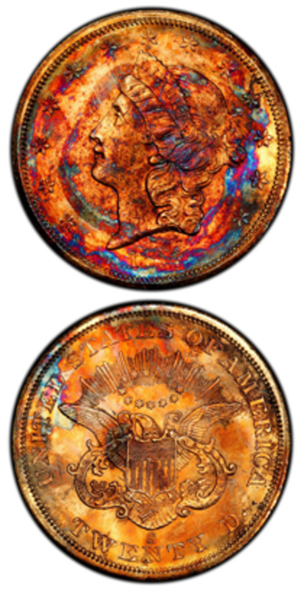 """This 1857-S double has spectacular toning after 157 years at the bottom of the sea. Professional Coin Grading Service PCGS Co-Founder David Hall said, """"I've never seen a gold coin like this in over 50 years of being involved in numismatics."""" (Christina Good Professional Coin Grading Service photo)"""