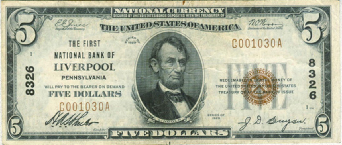 This small size $5 note from the author's collection still bears the signatures of Schuler and Snyder.