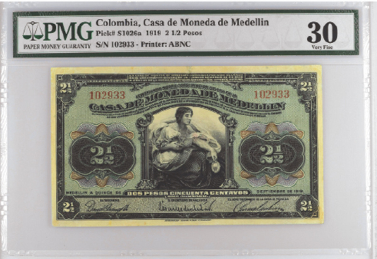 The text and the signature titles of the 5 pesos Litografia J.L. Arango-printed gold certificate of deposit was used as the reference for ABNC creating the later 1919-1920 dated series, as seen by the 1919-dated 2 ½ pesos example above (Pick #S1026a). (From the collection of Julian Cuartas)