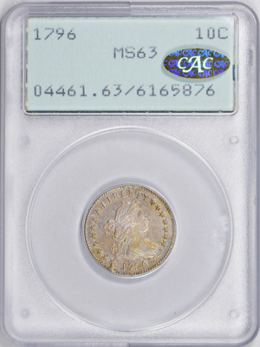 """1796 Draped Bust dime graded MS-63 in small PCGS """"rattler"""" holder. (All images courtesy GreatCollections.)"""