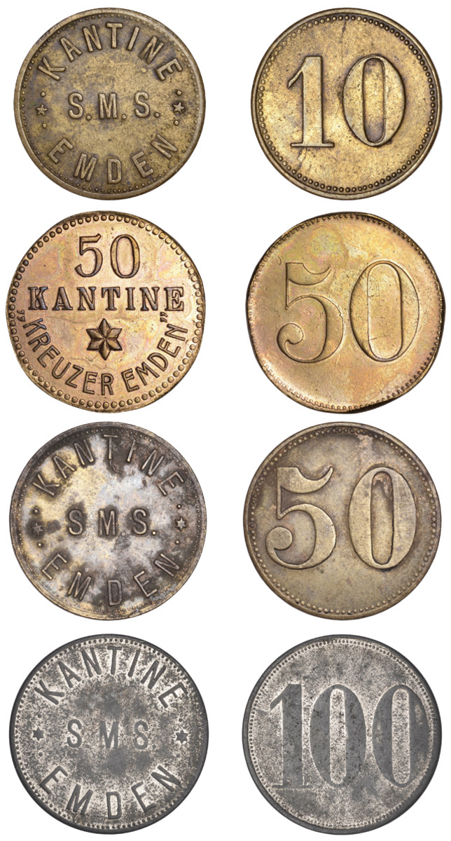 """Brass and zinc canteen tokens used on board """"SMS Emden"""" before and during her raiding exploits. Two series of tokens exist: those showing SMS EMDEN and those showing KREUZER EMDEN. Images courtesy Dix Noonan Webb. (5 denomination on Page 31)"""