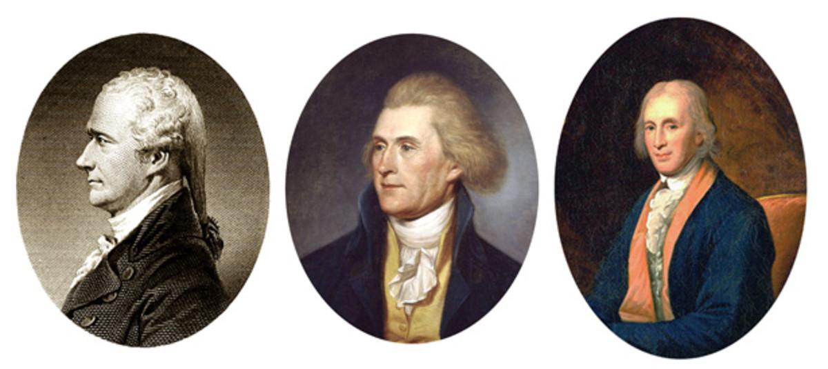 From left: Treasury Secretary Alexander Hamilton; Secretary of State Thomas Jefferson; and Mint Director David Rittenhouse.