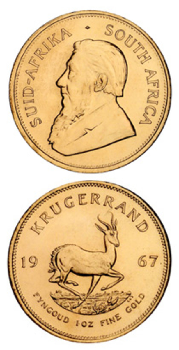 One of the original, 40,000, bullion-grade, 1967 Krugerrands complete with Schultz's President Kruger and Steynberg's springbok. (Images courtesy Stack's-Bowers)
