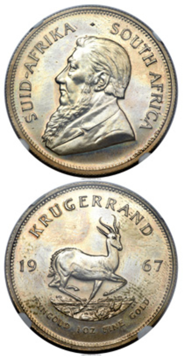 Rare silver krugerrand pattern of 1967. (Images courtesy www.ha.com)