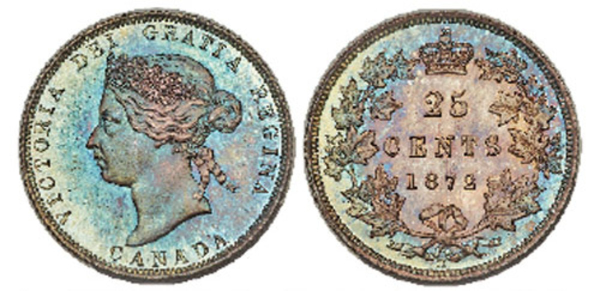 A rare 1872-H Victoria Specimen 25 cents is part of the Cook Collection coming to auction in August. (Images courtesy of Heritage Auctions.)