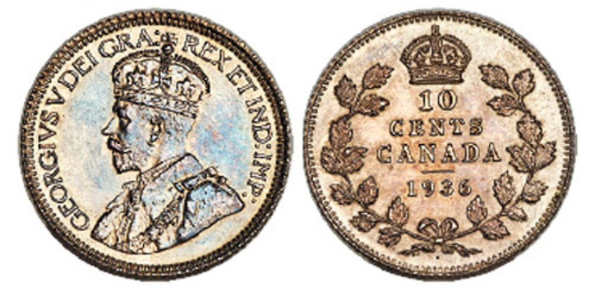 Shown here is a George V 10 cents 1936 Dot Specimen. (Images courtesy of Heritage Auctions.)
