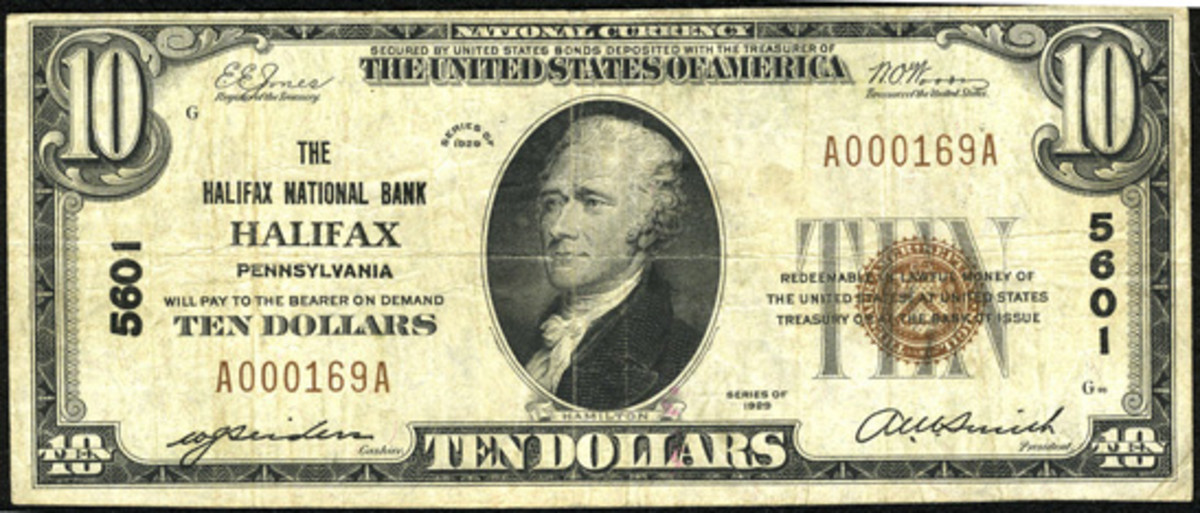 Here is a small size Series of 1929 $10 note issued by the Halifax National Bank. (Photo courtesy of Heritage Auctions)